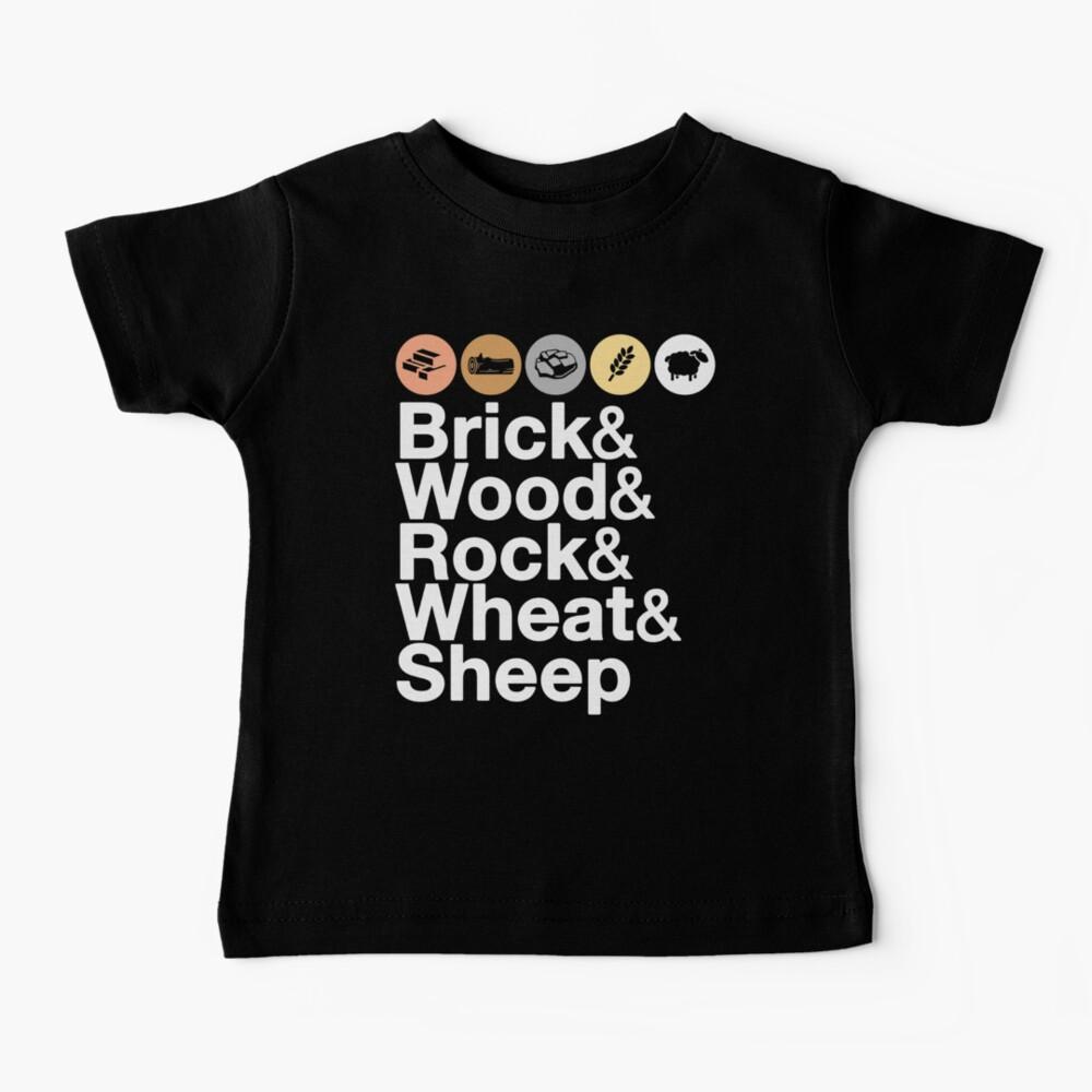 Helvetica Settlers of Catan: Brick, Wood, Rock, Wheat, Sheep | Board Game Geek Ampersand Design Baby T-Shirt