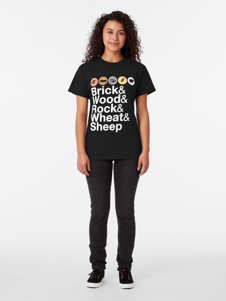 Alternate view of Helvetica Settlers of Catan: Brick, Wood, Rock, Wheat, Sheep | Board Game Geek Ampersand Design Classic T-Shirt