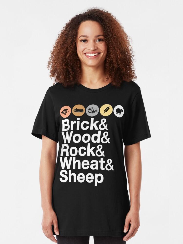Alternate view of Helvetica Settlers of Catan: Brick, Wood, Rock, Wheat, Sheep | Board Game Geek Ampersand Design Slim Fit T-Shirt