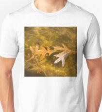 Liquid Gold Fall - Oak Leafs Floating in a Fountain T-Shirt