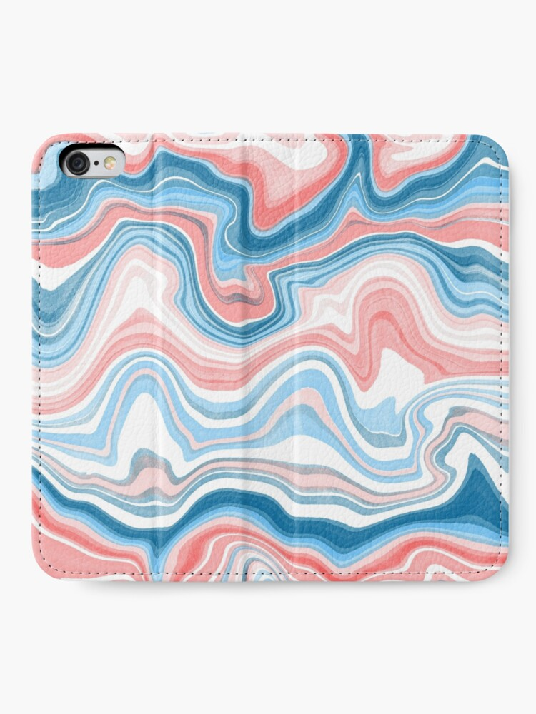 Alternate view of Red/Blue Marble iPhone Wallet