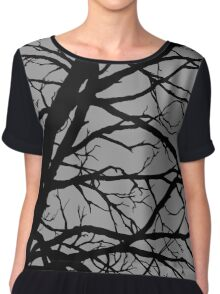 Silver Grey Tree Chiffon Top