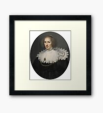 Michiel Jansz. van Mierevelt DELFT  PORTRAIT OF A LADY WITH A LACE COLLAR AND PEARLS Framed Print