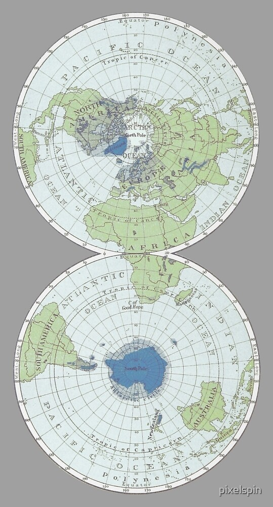 Old Map Of The World Poles By Pixelspin Redbubble