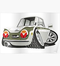 Ford Lotus Cortina Mark 1 caricature Poster