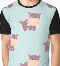 Pattern with a cute baby hippo Graphic T-Shirt