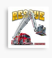 Cartoon Fire Truck Canvas Print