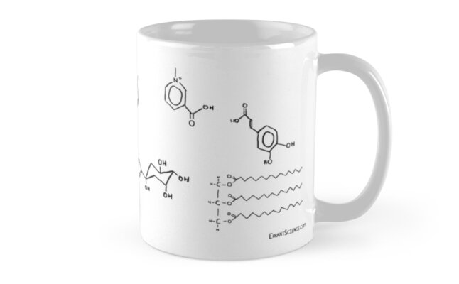 Tea & Coffee chemical structure mug by ErrantScience