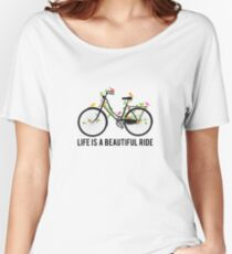 Life is a beautiful ride, vintage bicycle with birds Women's Relaxed Fit T-Shirt