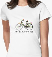 Life is a beautiful ride, vintage bicycle with birds Womens Fitted T-Shirt