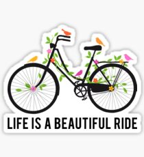 Life is a beautiful ride, vintage bicycle with birds Sticker