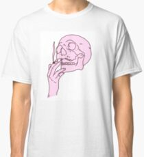 Pink Skull Smoking Classic T-Shirt