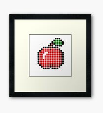 8 bit pixel apple Framed Print
