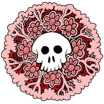 Pink and Red Skull by LarryCareyArt