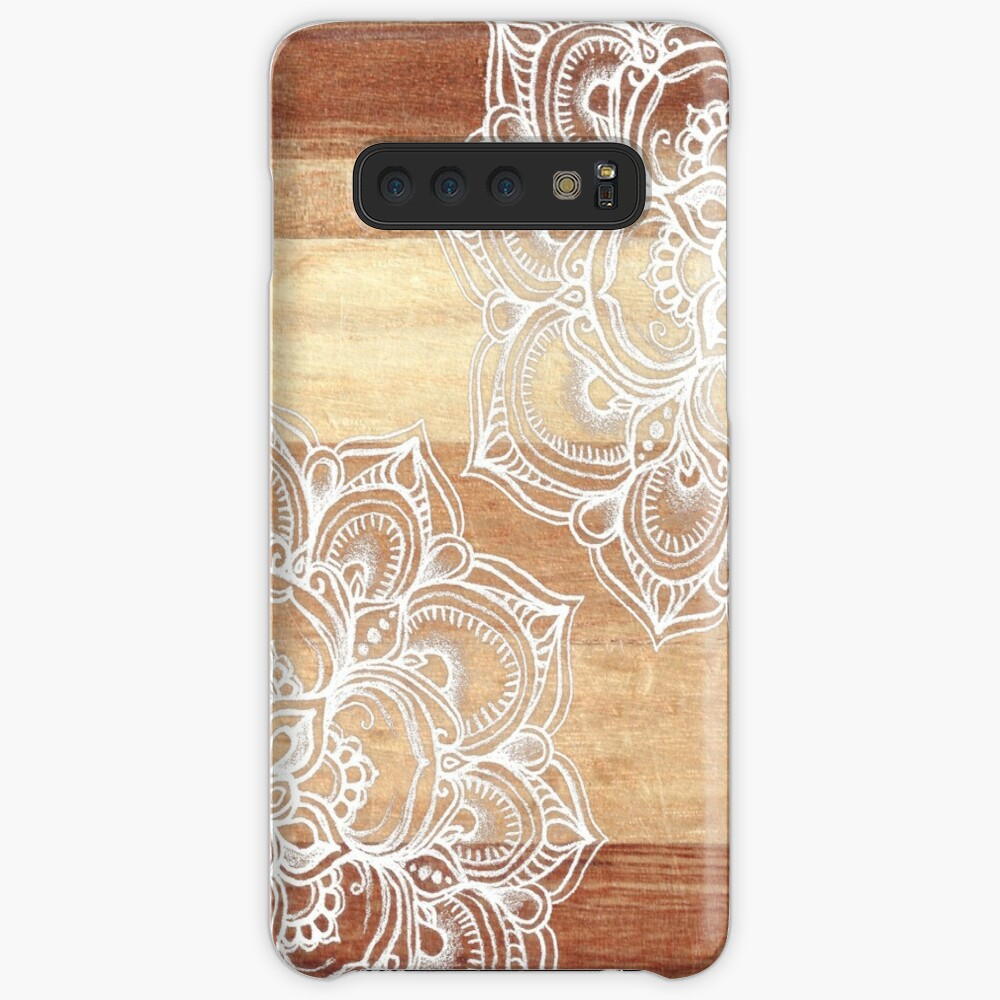 White Doodles on Blonde Wood Case & Skin for Samsung Galaxy