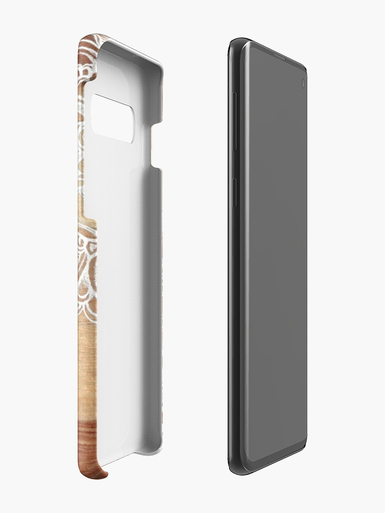 Alternate view of White Doodles on Blonde Wood Case & Skin for Samsung Galaxy