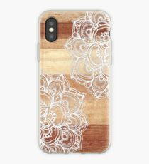 White Doodles on Blonde Wood iPhone Case