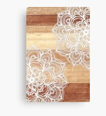 White Doodles on Blonde Wood Canvas Print