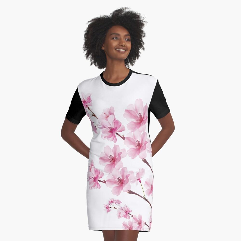 Sakura Cherry Blossom Graphic T-Shirt Dress