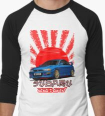 Subaru Impreza 22B WRX STI - R.I.P. EVO (Blue) Men's Baseball ¾ T-Shirt