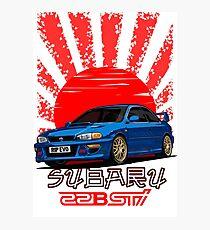 Subaru Impreza 22B WRX STI - R.I.P. EVO (Blue) Photographic Print