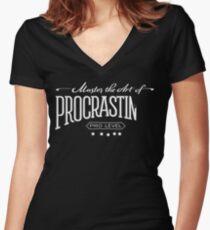 Master the Art of Procrastination / White Women's Fitted V-Neck T-Shirt