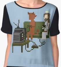 Jesus And Devil Playing Video Games Pixel Art Women's Chiffon Top