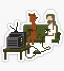 Jesus And Devil Playing Video Games Pixel Art Sticker