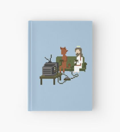 Jesus And Devil Playing Video Games Pixel Art Hardcover Journal