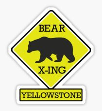 YELLOWSTONE NATIONAL PARK WYOMING BEAR CROSSING X-ING Sticker