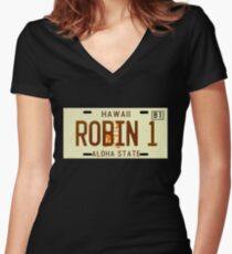 Magnum PI License Plate Women's Fitted V-Neck T-Shirt