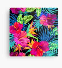 Drive You Mad Hibiscus Pattern Metal Print