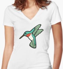 Hummingbird Pattern  Women's Fitted V-Neck T-Shirt