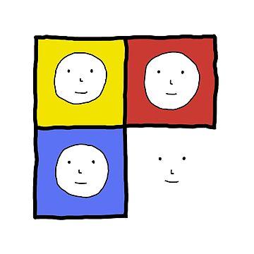 Tri Color 4 Face Design   Many Faces Series by devonguinn