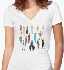 Bowie Scattered Fashion Women's Fitted V-Neck T-Shirt