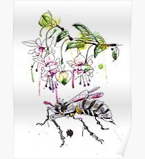 A Flower & Mechanical Wasp Poster