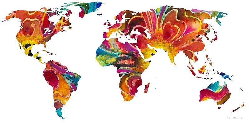 Map Of The World Colorful Abstract Art Art Prints By Sharon - Flat map of the world
