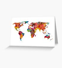 Map of The World 2 -Colorful Abstract Art Greeting Card