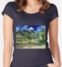 Vincent van Gogh Thatched Cottage at Cordeville Women's Fitted Scoop T-Shirt
