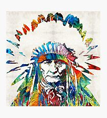 Native American Art - Chief - By Sharon Cummings Photographic Print