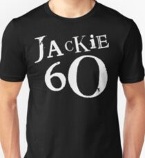 Jackie 60 Classic White Logo on Black Gear Unisex T-Shirt
