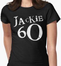 Jackie 60 Classic White Logo auf schwarzem Zahnrad Tailliertes T-Shirt für Frauen