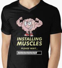 It's brainstorm, instaling muscles, please wait Men's V-Neck T-Shirt