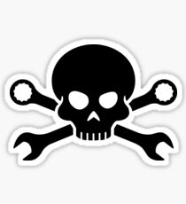 Skull 'n' Tools - Screw Pirate 1 (black) Sticker