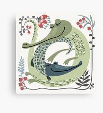 Crocodile love Canvas Print