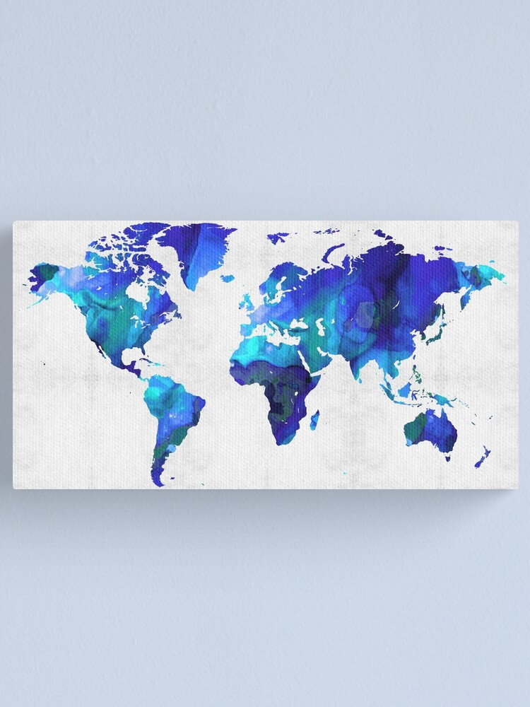 Alternate view of World Map 17 - Blue Art By Sharon Cummings Canvas Print