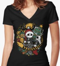 Jack's Christmas Plan Women's Fitted V-Neck T-Shirt