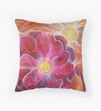 summer flowers abstract art Throw Pillow
