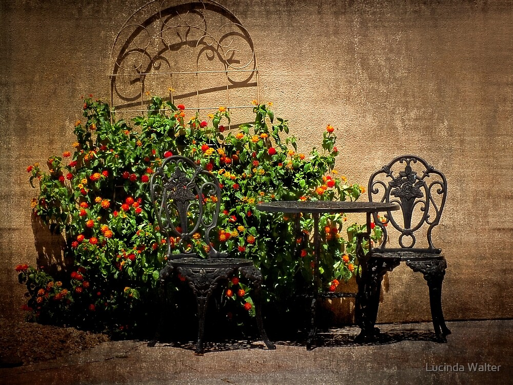Table and Chairs in Black With Flowers by Lucinda Walter