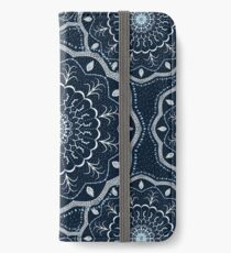 Black White Blue Mandala iPhone Wallet
